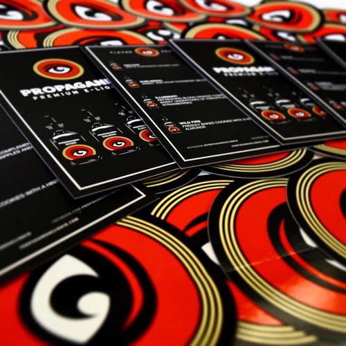 Propaganda E-Liquid stickers and info postcard