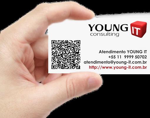 Posicione um leitor de QR Code sobre o cartão e adicione a YOUNG IT em seus contatos.