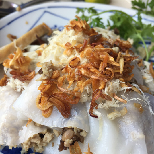 Freshly steamed banh cuon, Hanoi, Vietnam
