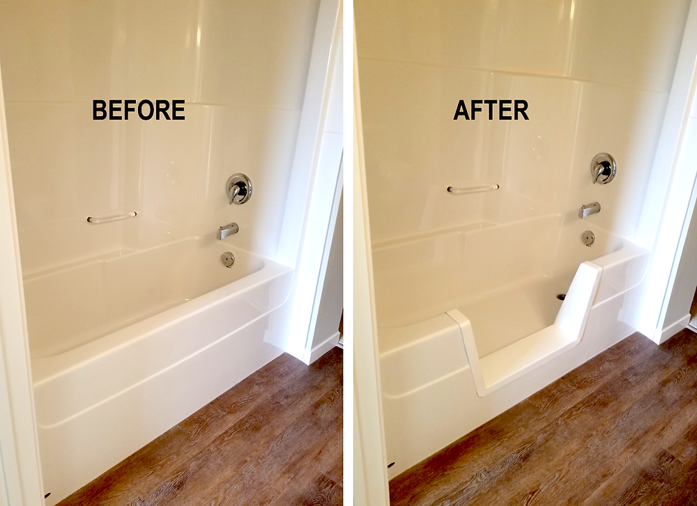 Before and after bathtub to step-in shower conversion