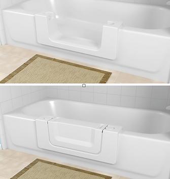 Bathtub cutout with door