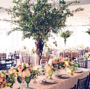 Flute centerpiece of foliage with coordinating low centerpieces.