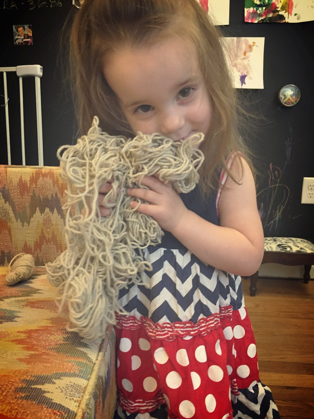 Mia bonds with the yarn that will become the ARIST yarn trail.