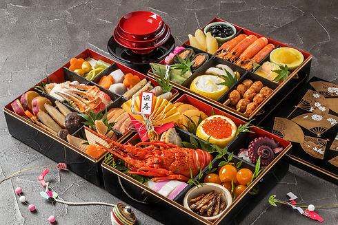 Japanese food of the New Year dishes tradition OSECHI (Chinese character in an image means