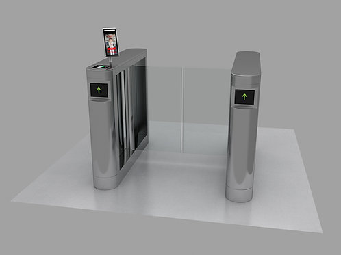 Brushed Stainless Steel Turnstile Front View