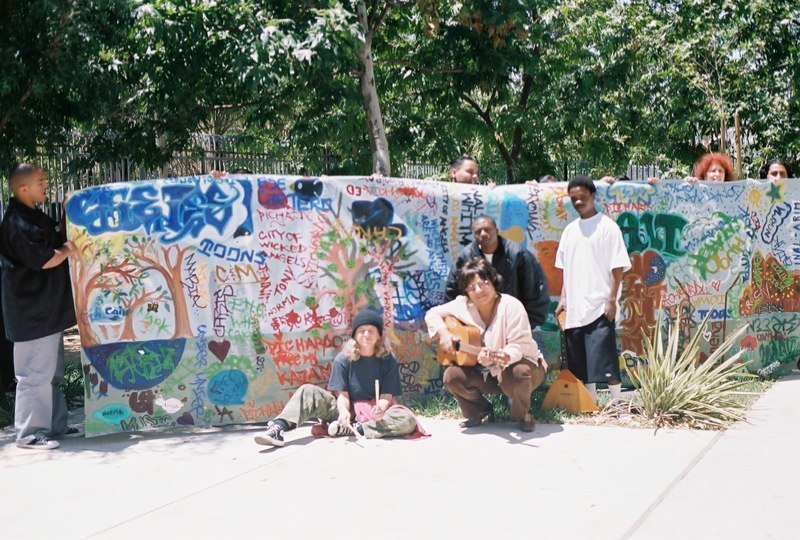 Mural outside with students