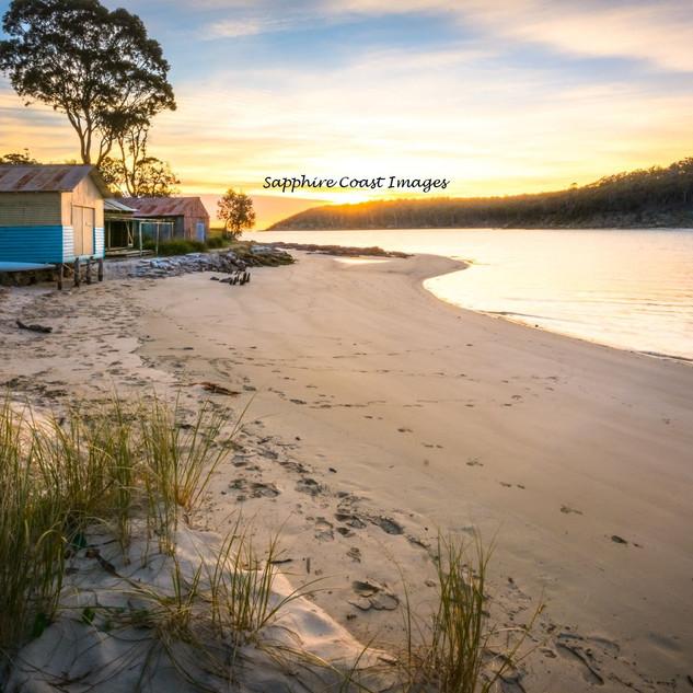 Pambula Boat Sheds at Sunrise