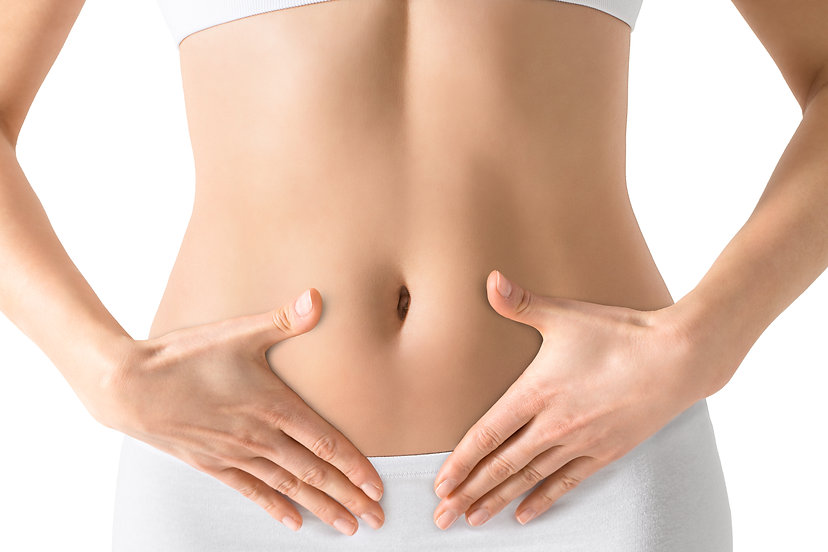Woman holding hands on a belly. Stomach