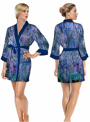 Waterlilies and Reflection of a Willow Tree Satin Short Bathrobe