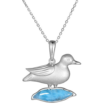 .925 Sterling Silver Seagull Pendant with chain