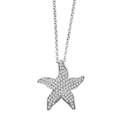 .925 Sterling Silver Starfish Pendant / Slide with chain