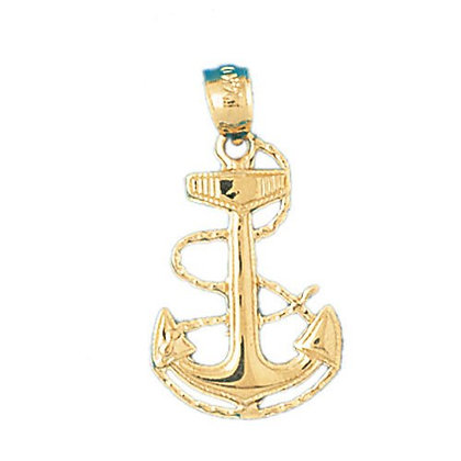 14kt. Anchor with rope pendant