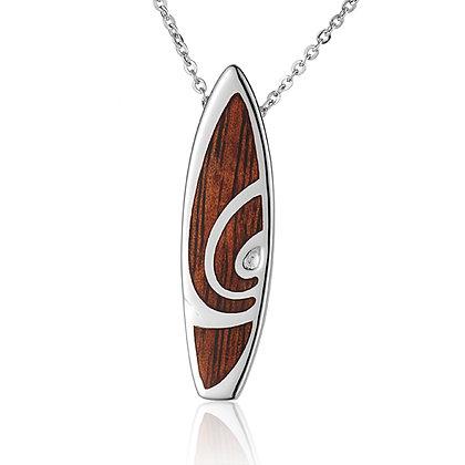 .925 Sterling Silver Hawaiian Koa Slide / Pendant with chain
