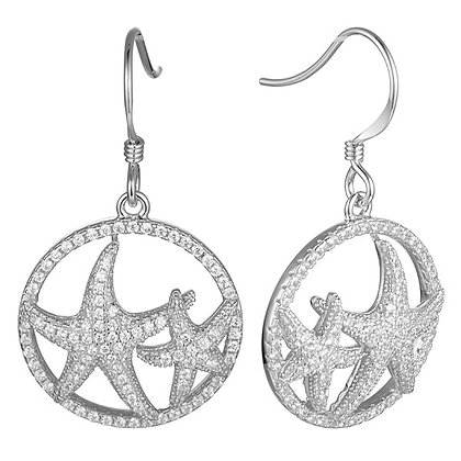 .925 Sterling Silver Starfish Earrings