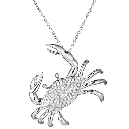 .925 Sterling Silver Crab Slide / Pendant with chain