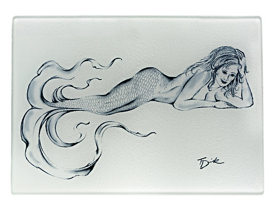 "Mermaid ""Zeva"" Cutting Board/Serving Tray (Tempered Glass)"