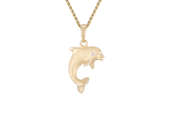 14kt. 15MM Single dolphin with diamond pendant