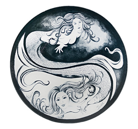 "Mermaid ""Yin Yang"" Cutting Board/Serving Tray (Tempered Glass)"