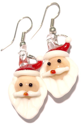 Glass Santa Earrings