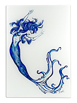 "Mermaid ""Blue Sea"" Cutting Board/Serving Tray (Tempered Glass)"