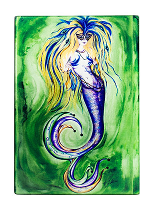 "Mermaid ""Mardi Gras"" Cutting Board/Serving Tray (Tempered Glass)"
