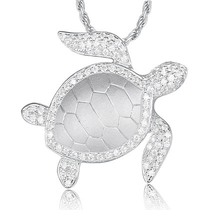 .925 Sterling Silver Turtle Slide / Pendant with chain