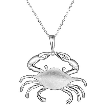 .925 Sterling Silver Crab Pendant with chain