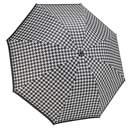 HOUNDSTOOTH REVERSE CLOSE FOLDING UMBRELLA