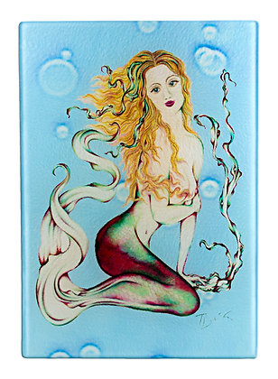 "Mermaid ""Fire Coral"" Cutting Board/Serving Tray (Tempered Glass)"