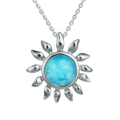 .925 Sterling Silver Sunflower Slide with chain