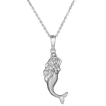 Mermaid Pendant w/ Chain, S/S