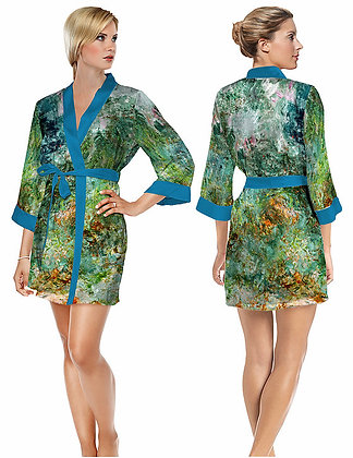 The House at Giverny Viewed from Rose Garden Satin Short Bathrobe