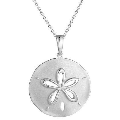 .925 Sterling Silver Sand Dollar Pendant with chain