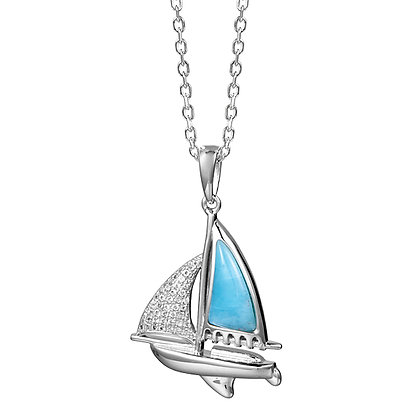 .925 Sterling Silver Sailboat Pendant with chain