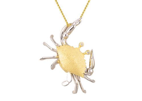 14kt. Two tone Crab diamond slide / pendant