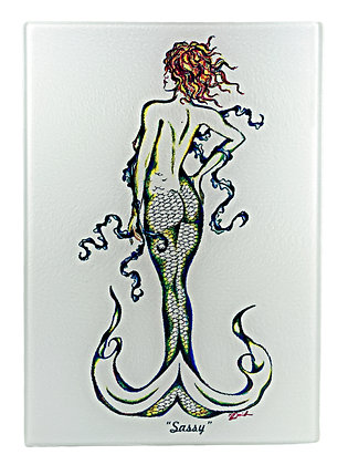 "Mermaid ""Sassy"" Cutting Board/Serving Tray (Tempered Glass)"