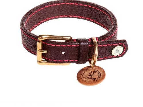 Ecodog Für Immer Halsband aus Olivenleder braun mit pinker Naht - Kläfferkram