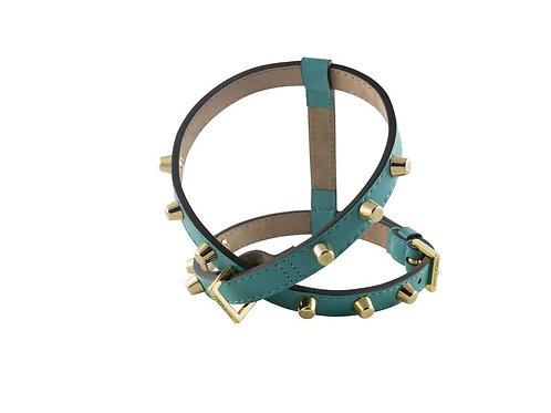 Leder Hundegeschirr Stud Bag von Frida Firenze, emerald green mit Nieten - Kläfferkram Hundeboutique