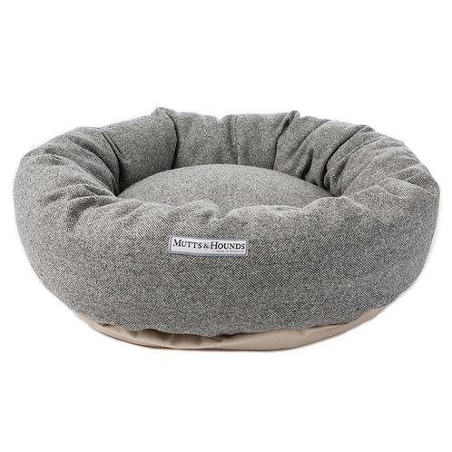 Mutts & Hounds Donut Bett Stoneham grau Tweed I Kläfferkram I exklusive Hundeboutique