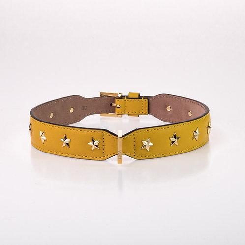 Frida Firenze gelbes Hundehalsband aus Leder mit Sternenapplikationen - Kläfferkram Hundeboutique -