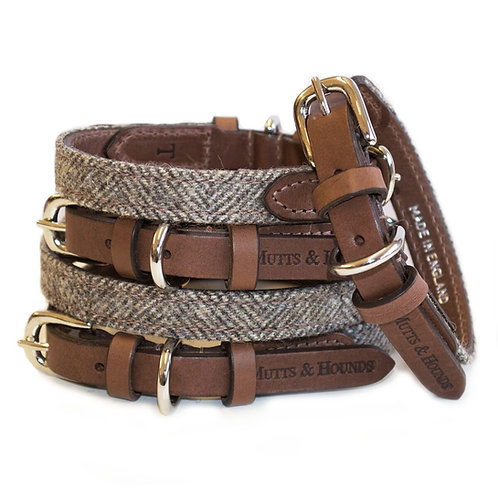 Mutts & Hounds Herringbone Halsband I Leder & Tweed I Kläfferkram I Hundeboutique Schweiz