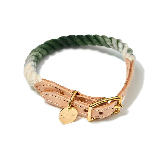 Olive Ombre Cotton Hundehalsband von Found My Animal I Klaefferkram