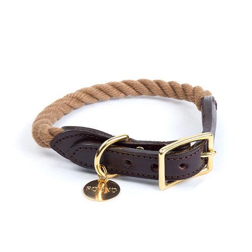 Segeltau & Leder Hundehalsband Dark Tan von Found My Animal - Kläfferkram