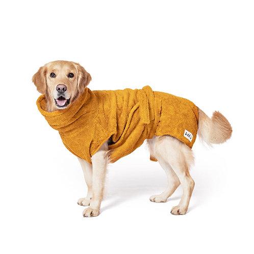 Lill's Hundebademantel aus Bio-Baumwolle farbe Amber Gelb