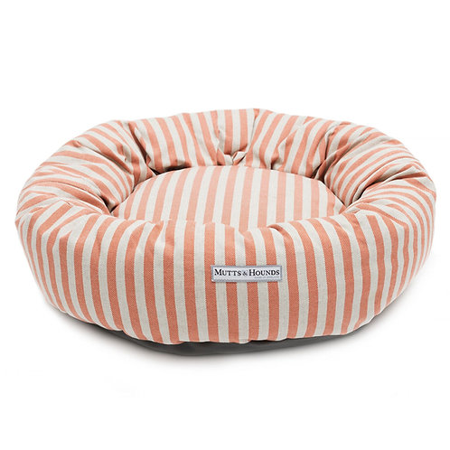 Mutts & Hounds Donut Hundebett Orange Stripe aus Baumwolle I Kläfferkram