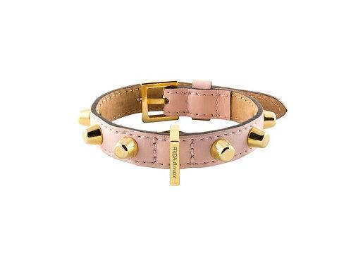 Lederhalsband Stud Bag von Frida Firenze in pink mit goldigen Nieten - Kläfferkram Hundeboutique Schweiz