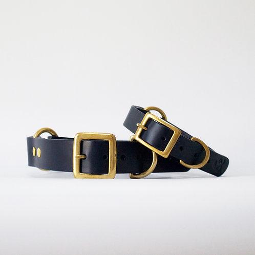 Leder Hundehalsband Navy blau von Fetch & Follow I Kläfferkram
