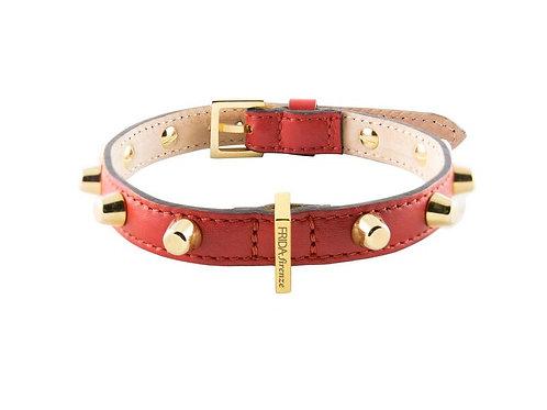 Frida Firenze Hundehalsband Stud Bag aus rotem Leder mit goldigen Nieten - Kläffekram