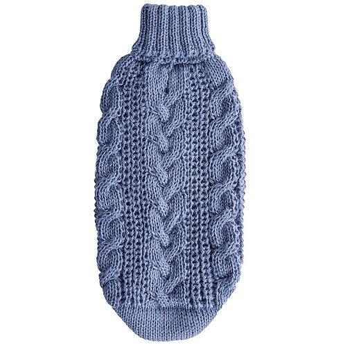 Alqo Wasi PERUANISCHER ALPACA STRICKPULLOVER Light Blue Cable Knit