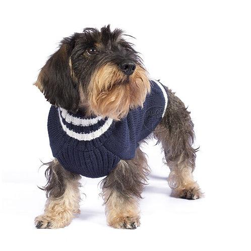 Hund mit Strickpullover Navy von Alqowasi I Kläfferkram